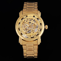 Free Shipping Winnder Brand Classic Men's Gold Dial Skeleton Mechanical Sport Watch Gift for man women clock