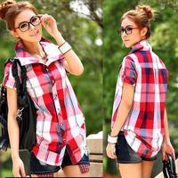 2014 New Fashion Plus Size Plaid Shirt British Style Loose Blouse Short Sleeve Turn-Down Collar Checked Shirt Free Shipping