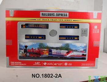 Wholesale 1:87 Plastic model trains toys for children railroad Simulation train sounds, lights electric train sets for kids