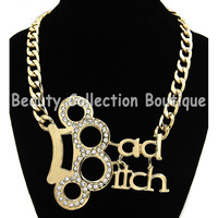 Short Bold Chain Metal Bad Bitch Necklace Word Gold 18inch Min order $10