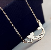 18K gold plated Mermaid pendant necklace free shipping MIN-ORDER $6 MIX ORDER