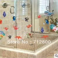 Fish&Bubble Removable 3D Wallpaper On Walls Bathroom Decor Decoration Wall Stickers For Children Kids Room Wall Decals Poster