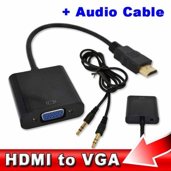 HDMI to VGA  with Audio Cable HDMI to VGA  Adapter Male To Female 1080p HDMI to VGA Converter For Xbox 360 PS3