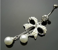 Free shipping 2013 hot sell ! Body Piercing White pink 316L bow pearl Barbell Navel Belly ring 1pc