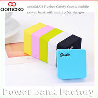 100PCS/lot  ! Wholesale with Crystal box for iphones4/4s samsumg phone small mini power bank cookie square battery charger