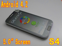 Hot S4 i9500 Android 4.2 cheap mobile phone SP6820A 1.0GHz 5.0 Inch screen Dual sim card phone Facebook Free shipping