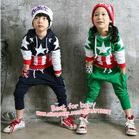 2013New Children Flag Sports Suit Boy/Girl/Baby Clothing Set Kids Garment Long Sleeve Hoodies+T-shirt+Pant Outfits Autumn Spring