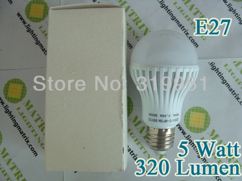 Free Shipping, 50pcs a lots, Ultra bright LED bulb 5W E27 AC170-240V Cold White or Warm White light LED lamp with 320 Lm(China (Mainland))