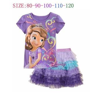 New 2014 Girls Frozen Clothing Sets Sofia Summer Kids Girls Clothes Frozen T shirt + Tutu Skirt