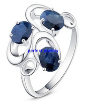 Sapphire ring Natural blue sapphire Free shipping 925 sterling silver rings 3pcs blue sapphire gems Fashionable