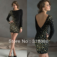 Black/Gold Short/Mini Bateau Neckline Long Sleeves Full Beaded Sparkle Low Back Sexy Party Dresses New Fashion 2013