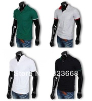 Mens cotton multi-color polo shirt short sleeve plain t-shirts, mens ERGONOMIC DESIGN casual top & tees freeshipping wholesale