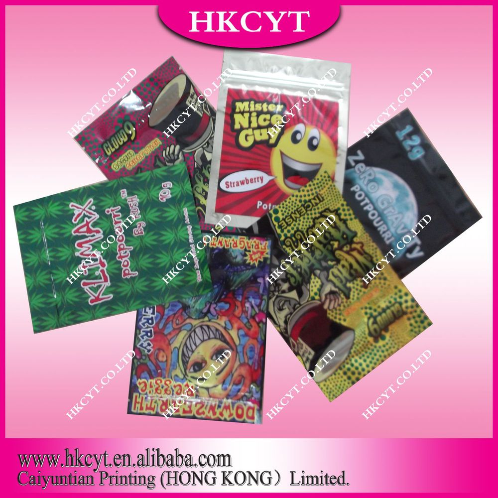 Wholesale aluminum foil herbal incense bag/spice potpourri reasealable zipper bag/Free shipping bag(Hong Kong)