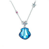 CDE Popular Blue Sea Shell Crystal Necklace Pendants for Jewelry Making N0241