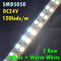 10pcs/lot DHL/EMS Shipping 5M 120leds/m 600leds 28.8W/m 144W White/Warm 2 Row DC24V Double Line LED Strip Light SMD5050
