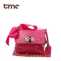 TMC High Quality Fashion Ribbon Bow Flip Genuine Leather Cowhide Chain Adjustable Women's Cross-Body Handbag YL125