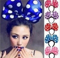Free shipping,LED light New Minnie mouse 3D Hairbands/large polka dot bow party headband /Costume Hair Accessories
