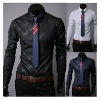 Hot Sale high quality Mens Designer Stripes Dress Shirts Tops Casual Slim long shirts MF-119