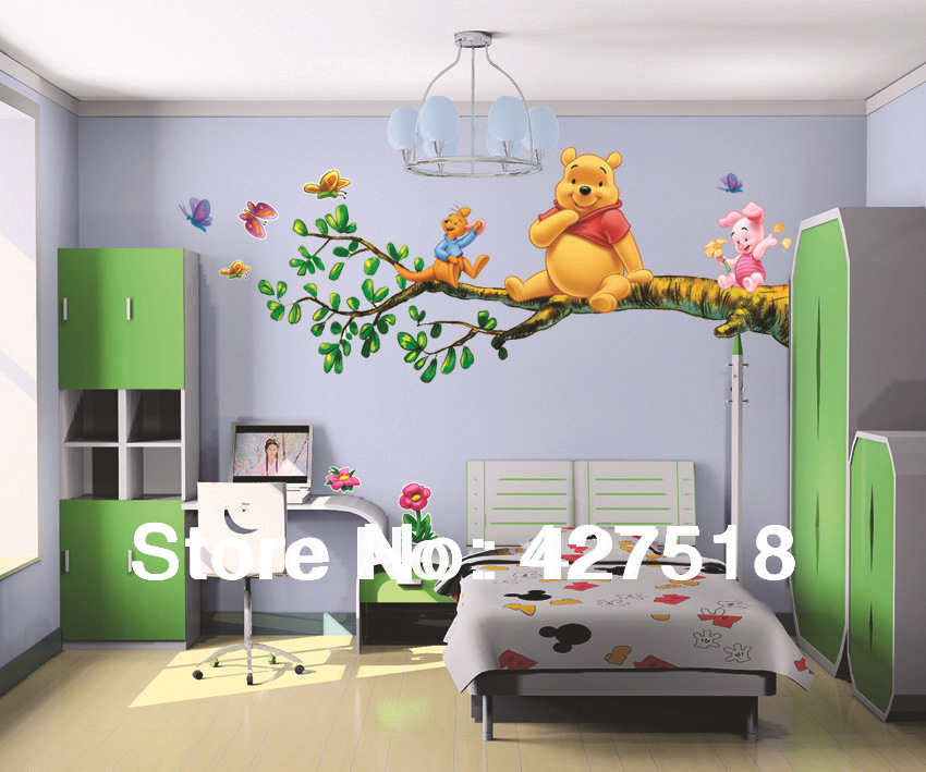 2pcs/set (AB) wall stickers wall decasl for bedroom white background teddy bear pooh in tree with kangaroo pig PVC LD-812(China (Mainland))