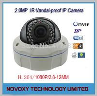 Free Shipping 2.0 Megapixel HD Waterproof Varifocal 2.8-12mm IR H.264 Camera Support Onvif  IR 25m