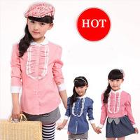 Free shipping 2014 autumn new girls long-sleeved dot plaid shirt retro charm sweet
