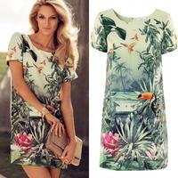 free shipping women elegant birds flowerplant Dresses Ladies' Oriental style sleeve Vintage cascul slim Dresses