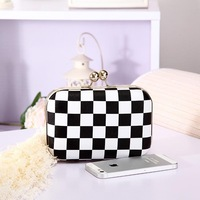 2013 women's bags black and white plaid messenger bag day clutch bag  evening bag