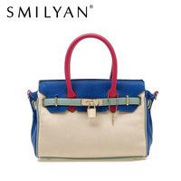 Smilyan fashion pu leather women handbags casual women's tote bag leather contrast color women's shoulder bag free shipping