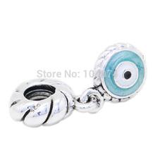 Wholesale Blue Dangle Eye Pendant Charm 925 Sterling Silver Charms Bead Fashion Jewelry Fit diy Bracelet