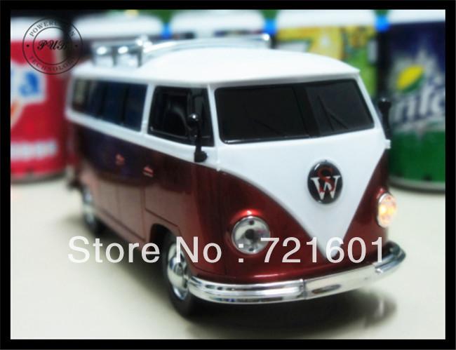 50pcs Wholesale USB Mini Speaker Car/Bus Shape TF Micro Music Player FM Radio Portable Sound Box Mp3 Speaker Free Shipping(China (Mainland))