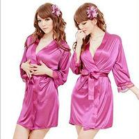 sexy temptation women Cardigan long dresses Bathrobes Pajamas lingerie Thongs Sleepwear Robe & Gown Sets + belt free size