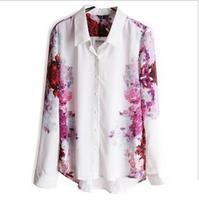 Women's Floral Print Chiffon Blouses Casual Puff Long Sleeve Tops Shirt Spring Summer Black Lapel Collar Ladies Shirt