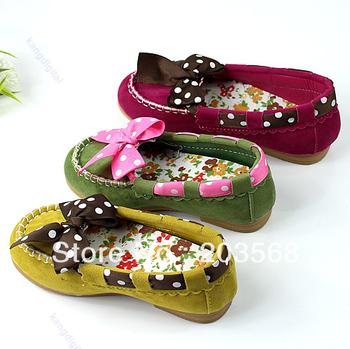 D191Pair Non-Slip Sole Cute Suede Children Kids Princess Girl Polka Dot Bow Shoes