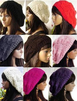 2014 Beret Braided Baggy Beanie Crochet Hat Ski Cap Women Lady  Fashion,multi-color