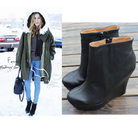 Hot Sexy Genuine Leather Black Wedges Boots Women Classic Fashion Boots High Heels With Platform