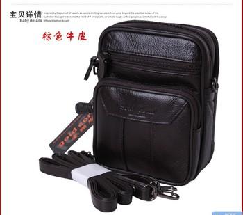 Genuine leather waist pack strap mobile phone bag smoke key documents bag men's bag belt bag small cross-body bag
