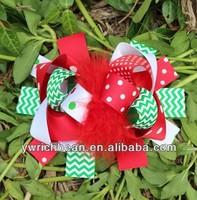 chevron top ribbon children hair accessory fashion clips free shipping christmas bows