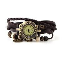 10pcs/lot Women's Watch Peach Heart knot pendant Bracelet Watch Hollow Carved hours Double Covered button Quartz Leather SSL33