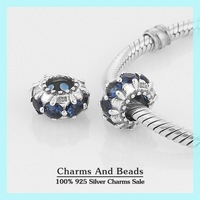 925 Sterling Silver Slide Charm Beads With Blue Crystal DIY Bead Compatible With European Pandora Style Charm Bracelets XS032C