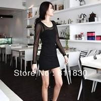 Dresses New Fashion 2014 Autumn And Winter sexy club Women Long Sleeve Net Yarn One Piece Big Size Sexy Club Mini Cheap dress