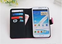 New arrival case for samsung galaxy note II stand wallet leather case for samsung N7100
