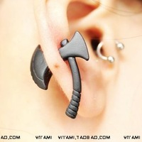 Personalized rowky HARAJUKU fashion three-dimensional axe piercing stud earring earrings male Women