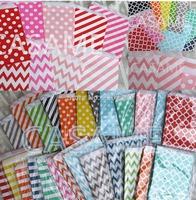 Promotion 5x7 Chevron dot stripe horizontal Flower Treat Craft Paper Popcorn Bags Food Safe Party Favor Paper bags Best Gift Bag