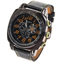 Wholesale Free Shipping Top Brand Oulm Military Men's Watches with Round Dial Leather Watchband - Black