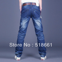 Wholesale 2013 Spring Tidal New Arrival  Korean Men's Jeans, Casual Leisure Pants, Whisker Slim Male Water Blue Denim Trousers
