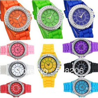 Geneva fashion silica gel watch men and women diamond quartz watch fashion diamond table