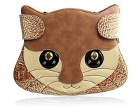 Amliya Unique Women's Cat Face Shape Bags Female One Shoulder Cross-body Bag Creative Special Handbag
