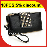 Korean lady clutch wallet zipper wristlet business handbag with credit card slot ZC108
