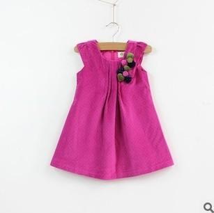 Free shipping 2013 autumn Mini Girl little sundress stereo flower dress 6pcs/lot Top quailty foreign order