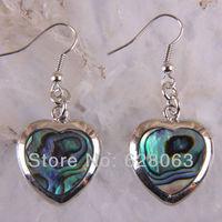 New Zealand Abalone Heart Shell Earrings Jewelry Free Shipping T008